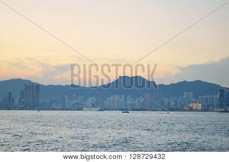 Hung Hom hong kong at sunset time