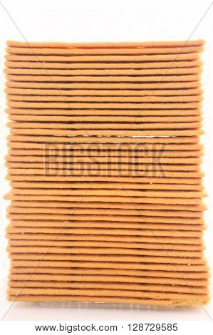 Biscuits or crackers on the white background