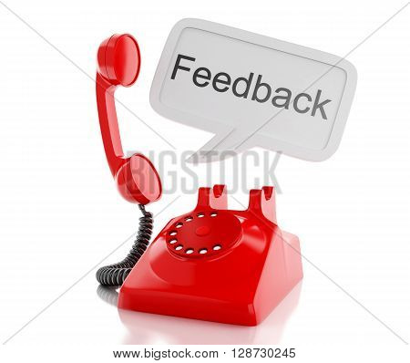 3d renderer image. Red telephone and speech bubble with word feedback. communication concept. Isolated white background.
