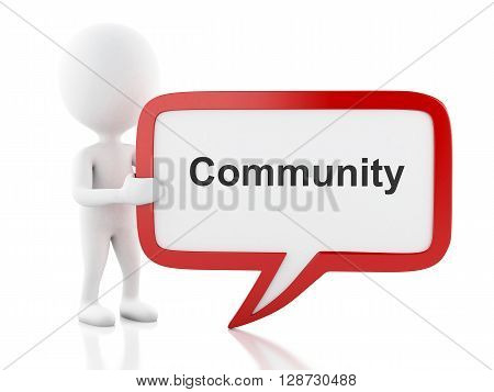 3d renderer image. White people with speech bubble that says Community. Isolated white background.