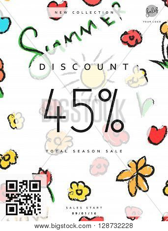 Discount 45. Discounts price tag. Summer discount. Black Friday. Clearance Sale. Discount coupon. Discount summer. Sale discount