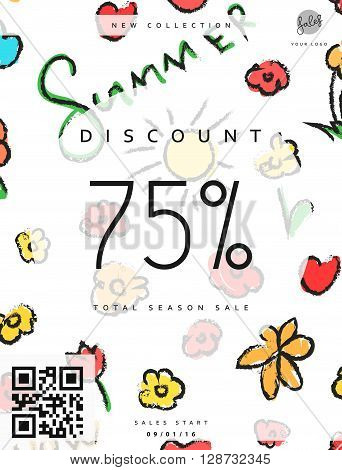Discount 75. Discounts price tag. Summer discount. Black Friday. Clearance Sale. Discount coupon. Discount summer. Sale discount