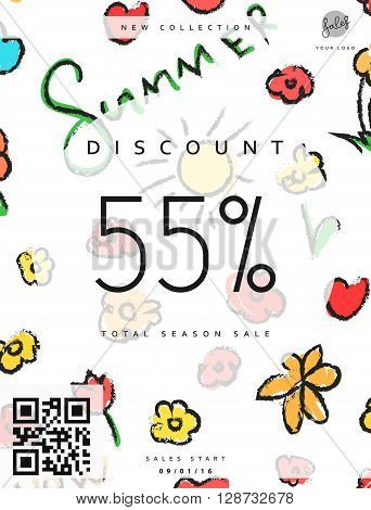 Discount 55. Discounts price tag. Summer discount. Black Friday. Clearance Sale. Discount coupon. Discount summer. Sale discount