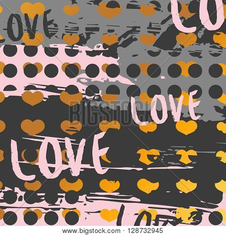 Romantic background with a pattern of hearts and. Romantic background in modern style. Romantic background for invitations, presentation, paper. Romantic background with pink hearts and grunge spots.