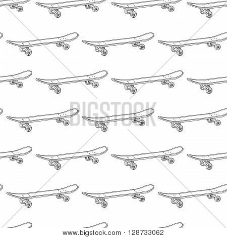 Seamless black-and-white pattern with skateboards. Pattern with skateboards for prints, fabric, stickers. Wallpaper with a pattern of skateboards in a linear style. Vector illustration