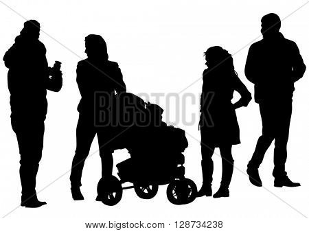 Families with child and carriage on white background