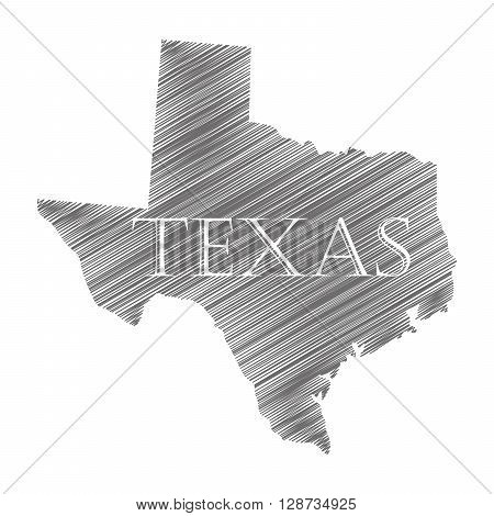 State Texas in scribble style - vector illustration. Abstract flat map of Texas isolated.