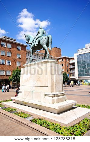 COVENTRY, UK - JUNE 4, 2015 - Lady Godiva Statue at Broadgate in the city centre Coventry West Midlands England UK Western Europe, June 4, 2015.