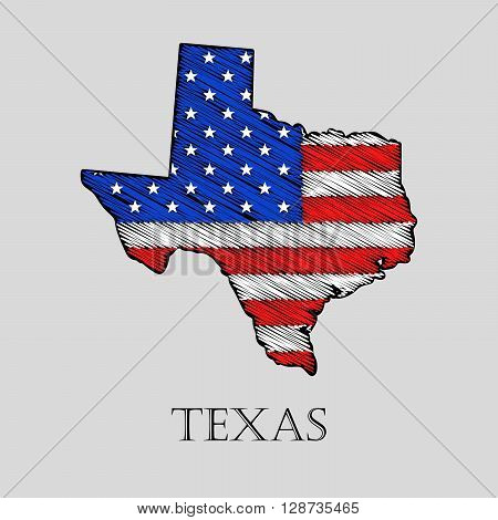 State Texas in scribble style - vector illustration. Abstract flat map of Texas with the imposition of US flag.