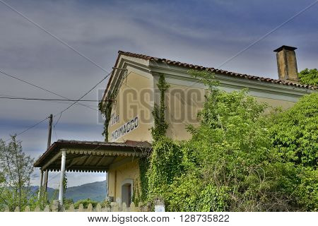 The former train station in Moimacco Friuli Italy. The building dates from around 1886 and was abandoned following the construction of a newer station in 1987.
