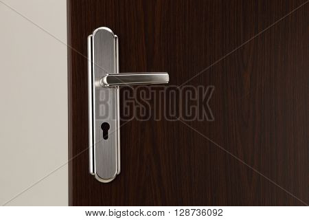 door handle on the wooden door