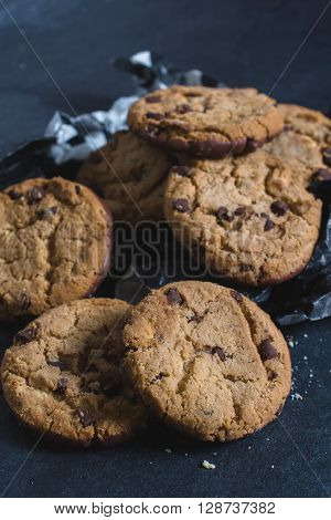 Image of homemade chocolate chip cookiesselective focus