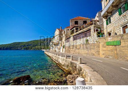 Komiza on Vis island waterfront street Dalmatia Croatia