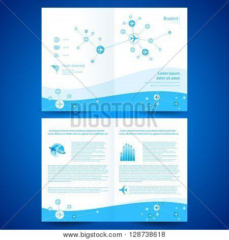 booklet catalog brochure folder airplane airline flight transportation line connection