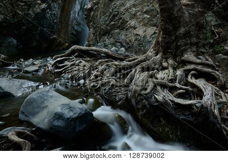 Beautiful Millomeris waterfall,Kryos Potamos river,Cyprus island,Troodos mountains (near famous Pano Platres resort)