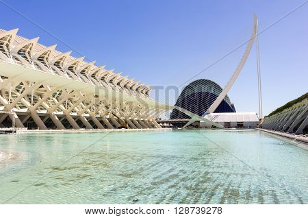 VALENCIA SPAIN - OCTOBER 08 2014: Prince Philip Science Museum and bridge in Valencia Spain
