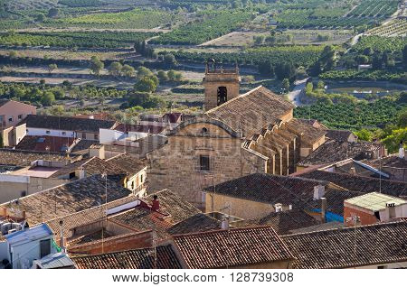 Top view on mountain town Montesa province of Alicante Spain