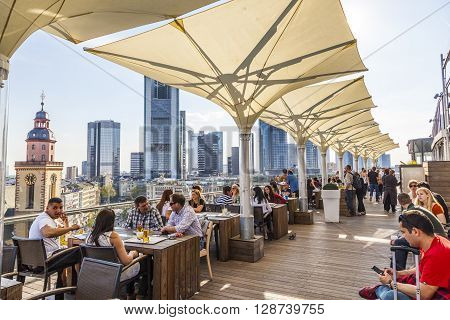 People Enjoy The View From The Panorama Platform To The Skyline In Frankfurt