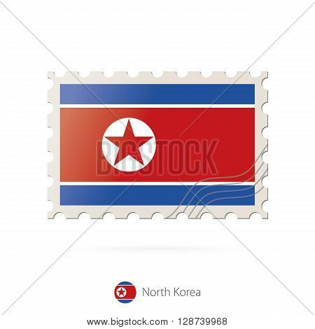 Postage Stamp With The Image Of North Korea Flag.