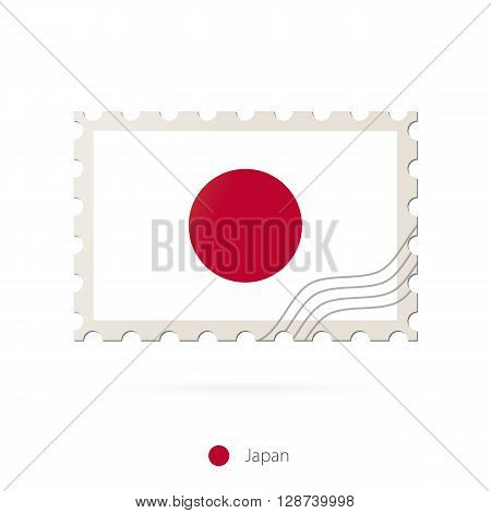 Postage Stamp With The Image Of Japan Flag.