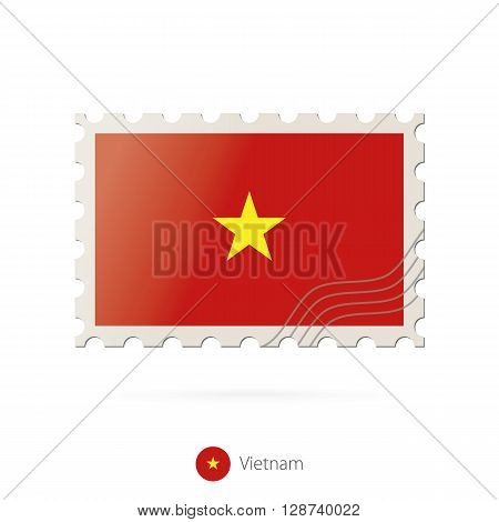 Postage Stamp With The Image Of Vietnam Flag.