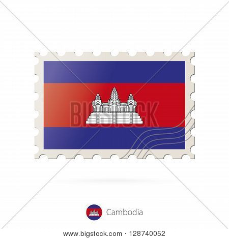 Postage Stamp With The Image Of Cambodia Flag.