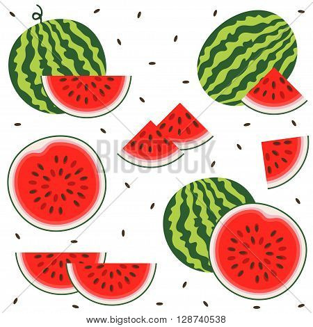Set of fresh ripe watermelon. Single watermelon half a watermelon a slice of watermelon. Summer concept. Watermelon vector illustration