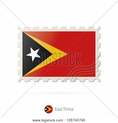 Postage Stamp With The Image Of East Timor Flag.