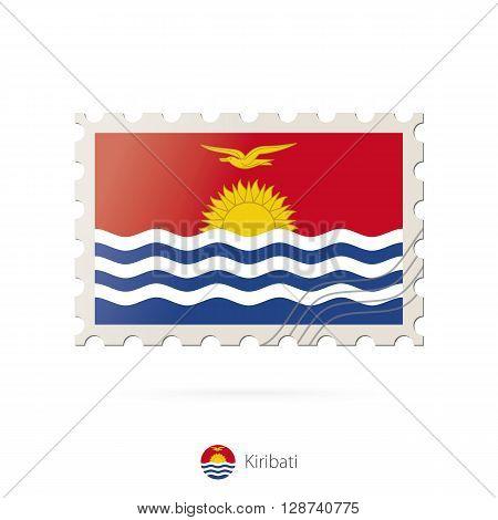 Postage Stamp With The Image Of Kiribati Flag.