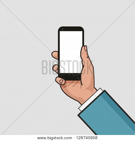 Mobile phone in businessman hand. Hand using smartphone. Mockup of modern mobile phone with touchscreen. Vector flat design