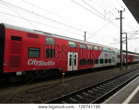 VIENNA AUSTRIA - CIRCA MAY 2014: A train on railroad railway for mass transit public transport