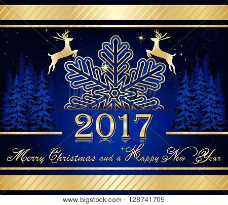 Elegant blue Christmas background. Merry Christmas and a Happy New Year - Blue golden Christmas background for 2017. Contains an elegant snowflake, reindeer shape and pine trees.