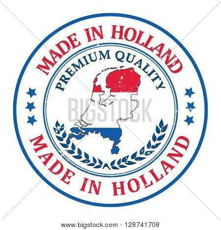 Made in Holland grunge printable label, with dutch flag colors and map. CMYK colors used.
