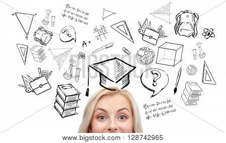 school, education, learning and people concept - happy young woman or teenage girl face with doodles