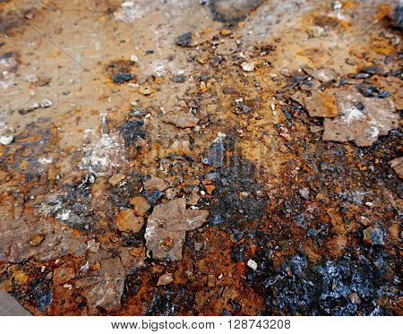 erosion rust from metallic material of ground industry