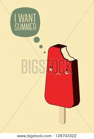 Vintage ice cream poster. Flat ice cream cartoon character. Retro vector illustration.