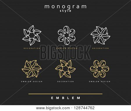 Set of elegant monogram design. Monogram design element . Monogram for use in the design . Monogram decor . Emblem design. Elegant monogram design