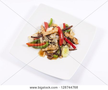 Image of white plate with Chines food