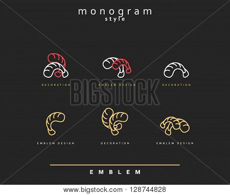Emblem seafood. Emblem for restaurant and sushi bar. Elegant ebmlem for culinary schools. Monogram seafood.