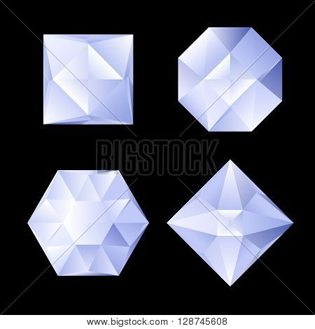 Set of four shiny rhinestones of differebt shapes. Illustration on black background