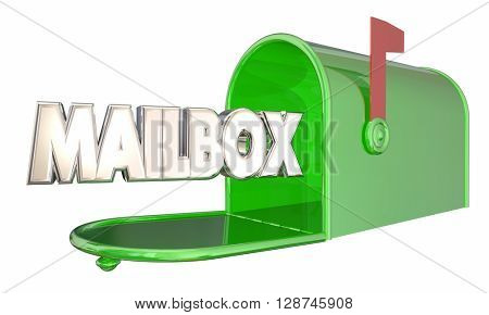 Mailbox Green Metal Message Word 3d Illustration