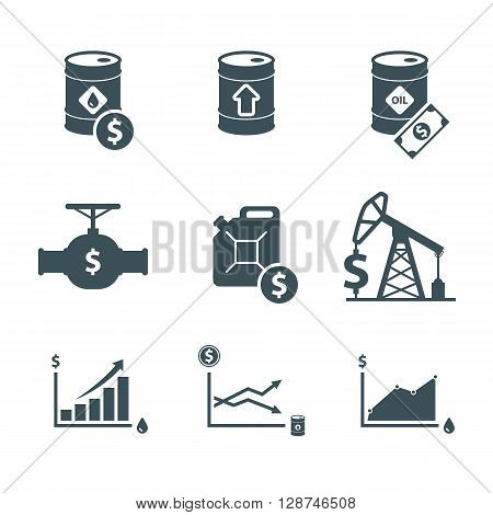 oil price icon set. oil prices up. crude oil barrel cost. rise in oil prices. graph growth infographic. isolated on white background. vector illustration