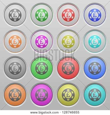 Set of Pound casino chip plastic sunk spherical buttons.