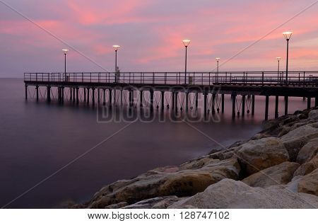 Sunset at Limassol coastal front,Cyprus,Europe.It has second largest urban area on the island