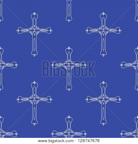 Religion cross icon. Hand drawn vector stock illustration. Seamless background pattern