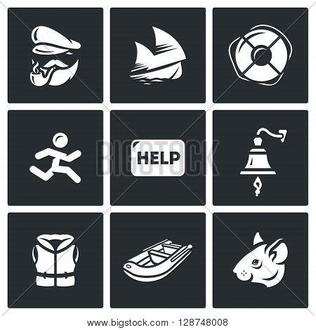Vector Set of Shipwreck Icons. Captain, Ship, Rescue, Escape, Help, Distress, Tocsin, Life jacket, Evacuation, Rat.