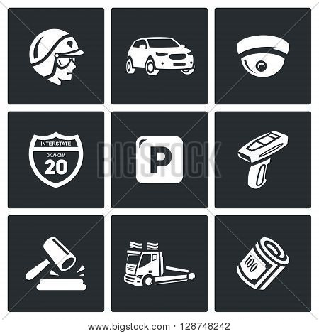 Vector Set of Road Patrol Police Icons. Cop, Car, CCTV, Sign, Parking, Violation, Fine, Evacuation, Payment.