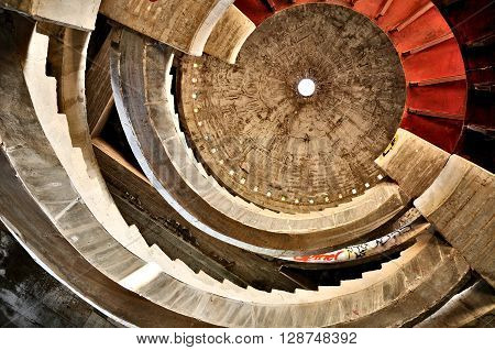 Bottom up view of the interior of the big abandoned building in central Israel.