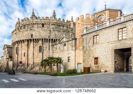 ÁVILA,SPAIN - APRIL 23,2016 - Apse of the cathedral through the town walls in Ávila. Ávila is a Spanish town located in the autonomous community of Castile and León .