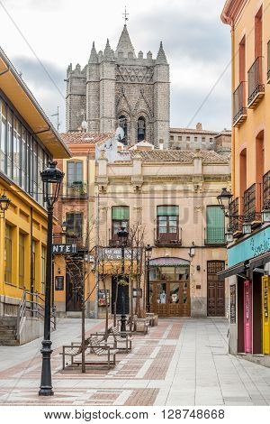 ÁVILA,SPAIN - APRIL 23,2016 - In the streets of Ávila. Ávila is a Spanish town located in the autonomous community of Castile and León .